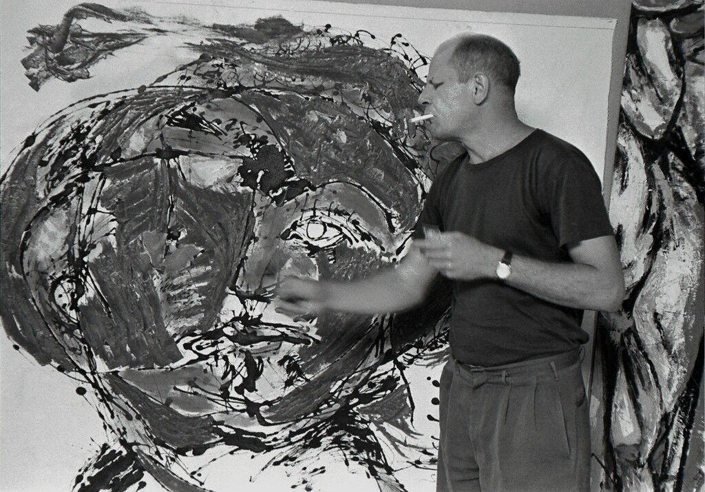 Jackson Pollock painting at his home, East Hampton, 1953