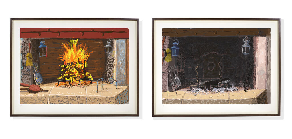 """A Bigger Fire"" and ""No Fire"" iPad prints pair by David Hockney"