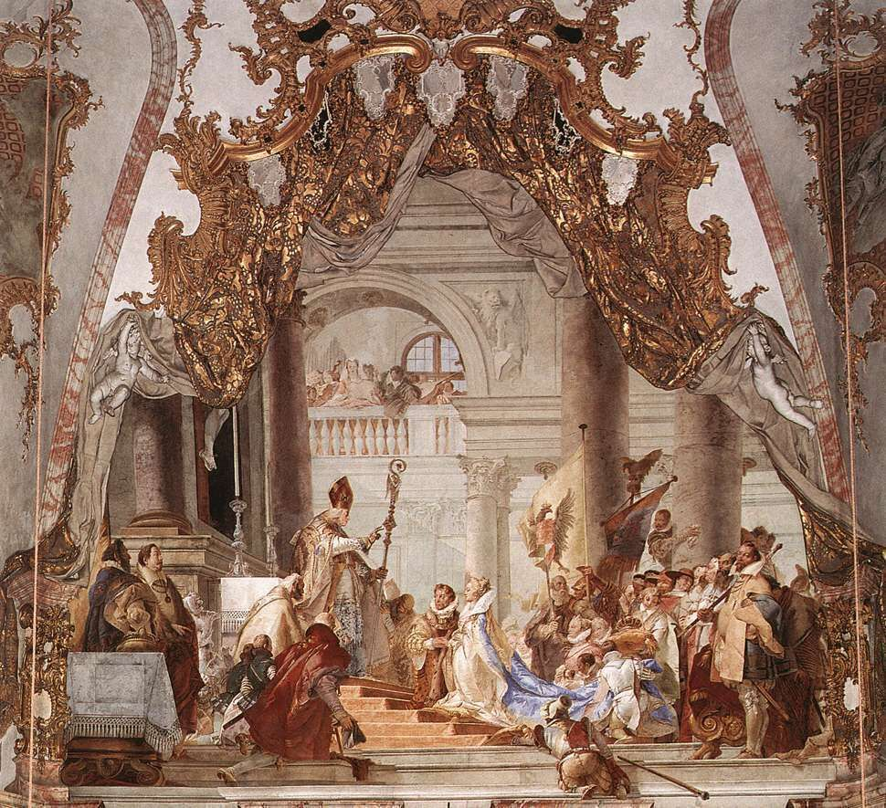 The Marriage of the Emperor Frederick and Beatrice of Burgundy, fresco in the Kaisersaal (Imperial Hall), Residenz