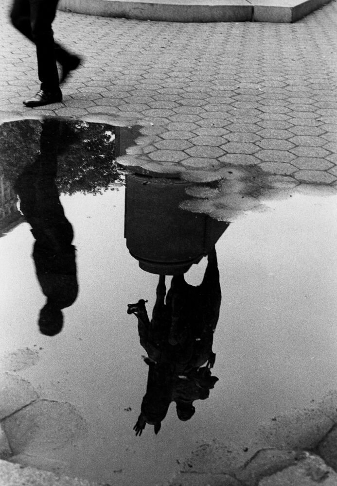Puddle and Reflection of Statue, Union Square