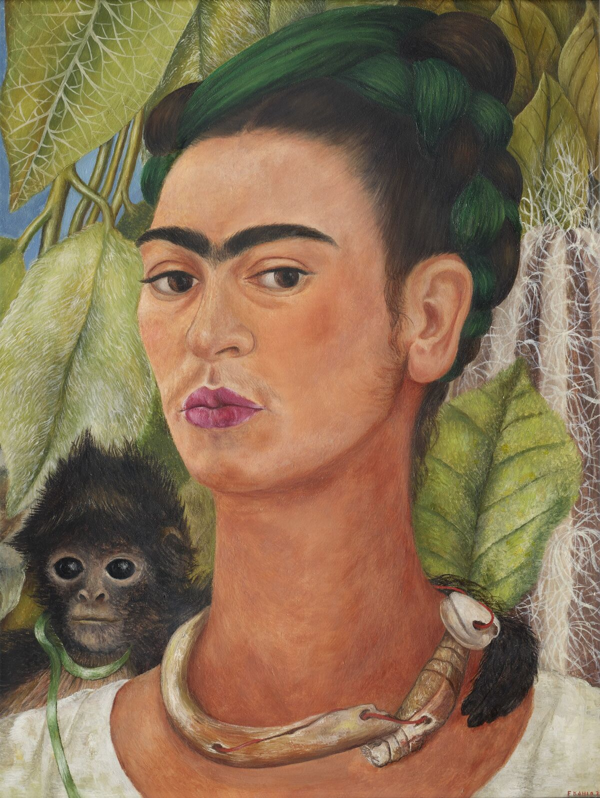 Self-Portrait with Monkeys, 1943 -🐒Frida Kahlo Art Print