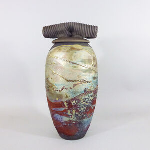 Tall Luster Covered Jar
