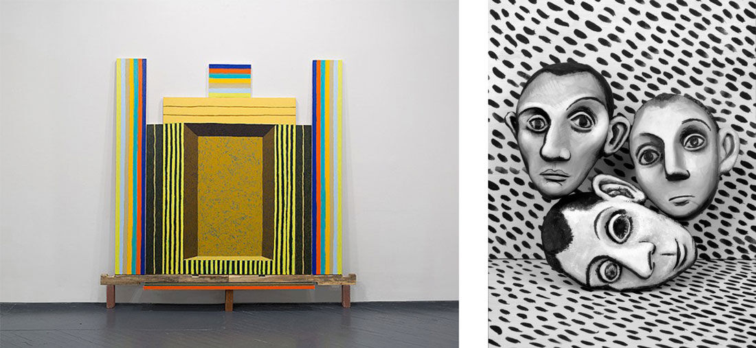 Matt Kleberg, The Get Down, 2015. Image courtesy of Katharine Mulherin Gallery; Mary Reid Kelley, Three Picasso Heads, 2015. Image courtesy of Fredericks & Freiser.