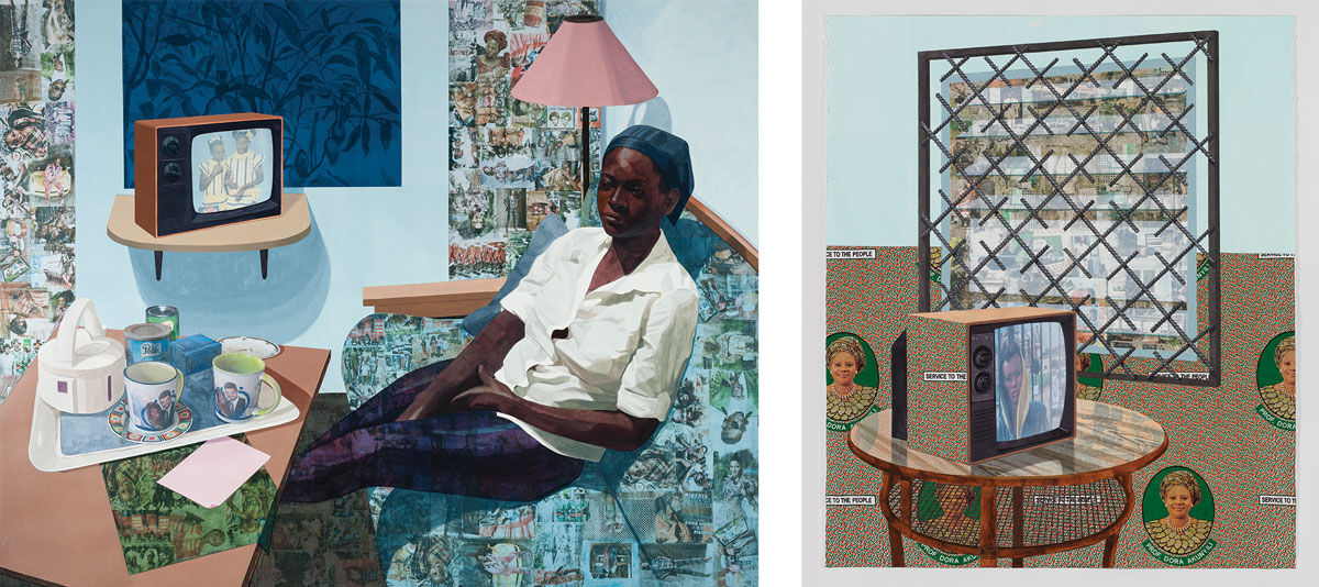 Left: Njideka Akunyili Crosby, Super Blue Omo, 2016. © Njideka Akunyili Crosby, courtesy of Norton Museum of Art; Right: Njideka Akunyili Crosby, See Through, 2016. © Njideka Akunyili Crosby. Images courtesy of the artist and Victoria Miro, London.