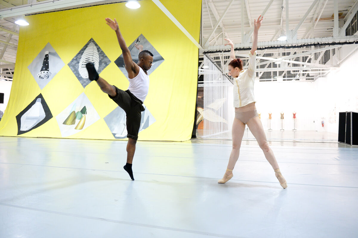 Armitage Gone! Dance performs during a private reception for Making Art Dance, December 15, 2014. Photo by Joe Schildhorn. Courtesy Mana Contemporary.
