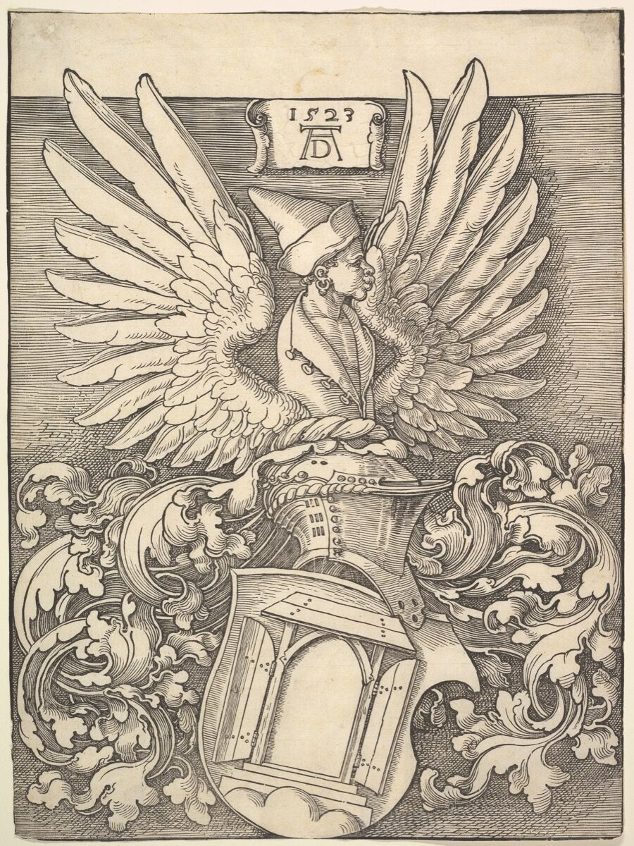Albrecht Dürer, Coat of Arms of Albrecht Dürer, 1523. The Elisha Whittelsey Collection, The Elisha Whittelsey Fund, 1952. Courtesy of the Metropolitan Museum of Art.