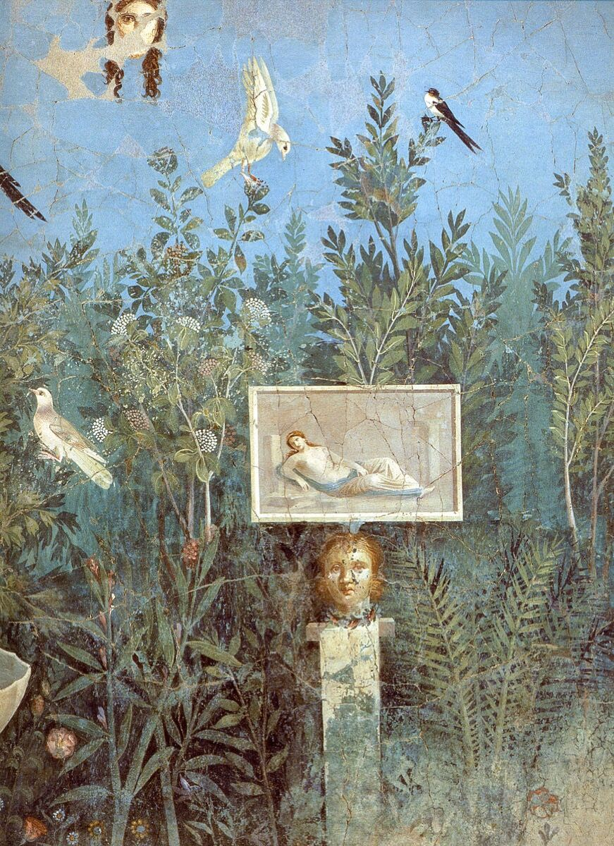Fresco showing a garden scene from the House of the Golden Bracelet, Pompeii, mid–1st century C.E. Photo via Wikimedia Commons.